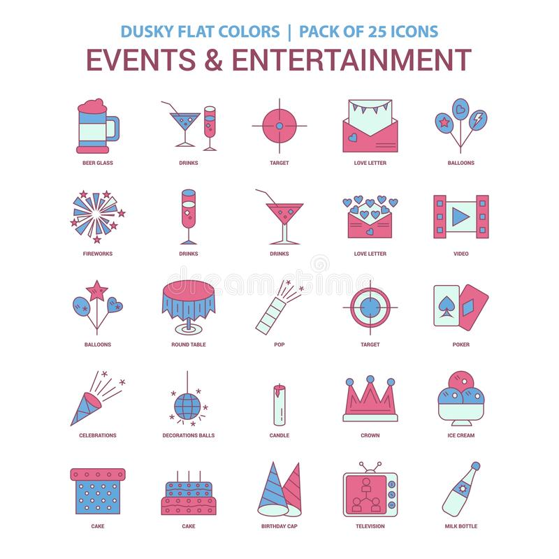 Events and Entertainment icon Dusky Flat color - Vintage 25 Icon. Pack - This Vector EPS 10 illustration is best for print media, web design, application design vector illustration
