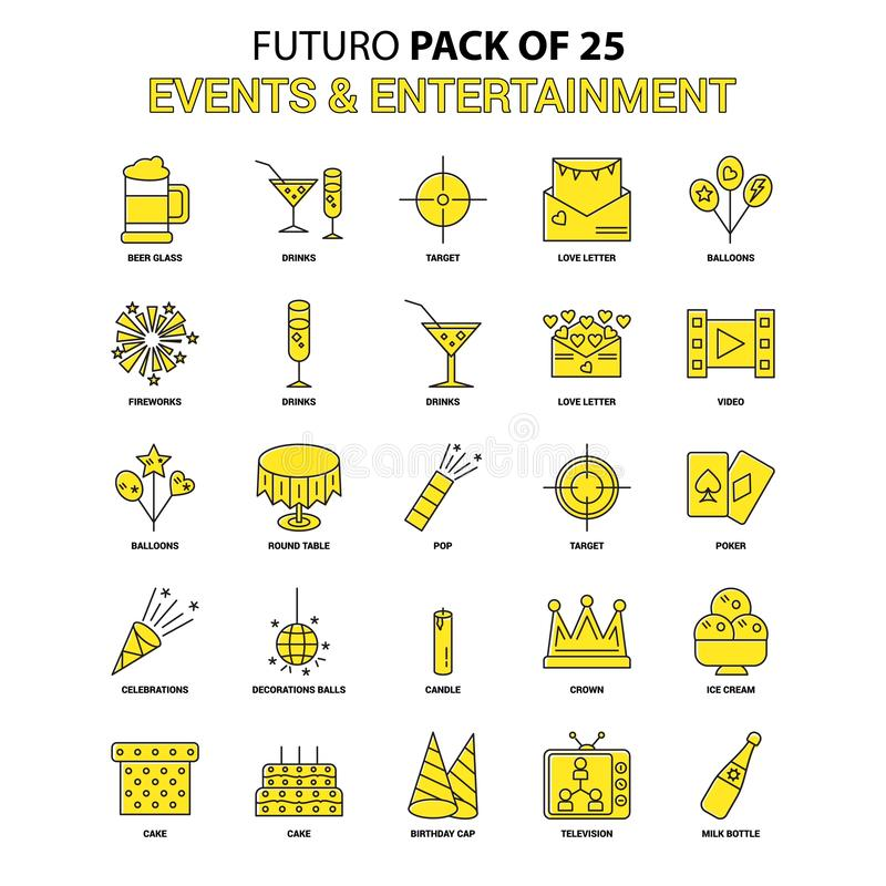 Events and Entertainment Icon Set. Yellow Futuro Latest Design i. Con Pack - This Vector EPS 10 illustration is best for print media, web design, application stock illustration