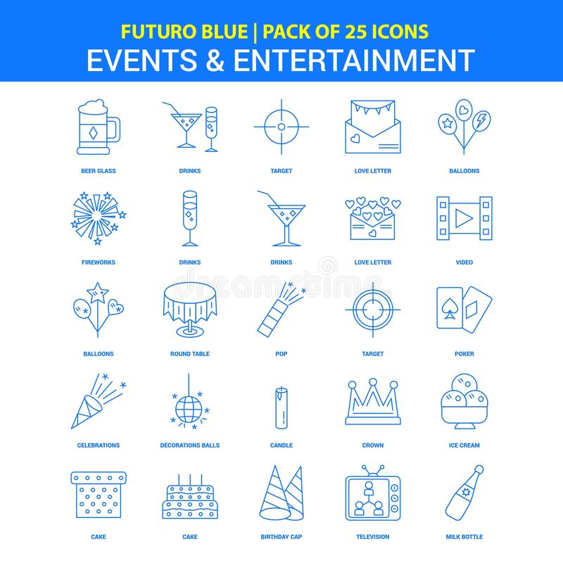 Events and Entertainment Icons - Futuro Blue 25 Icon pack. This Vector EPS 10 illustration is best for print media, web design, application design user stock illustration