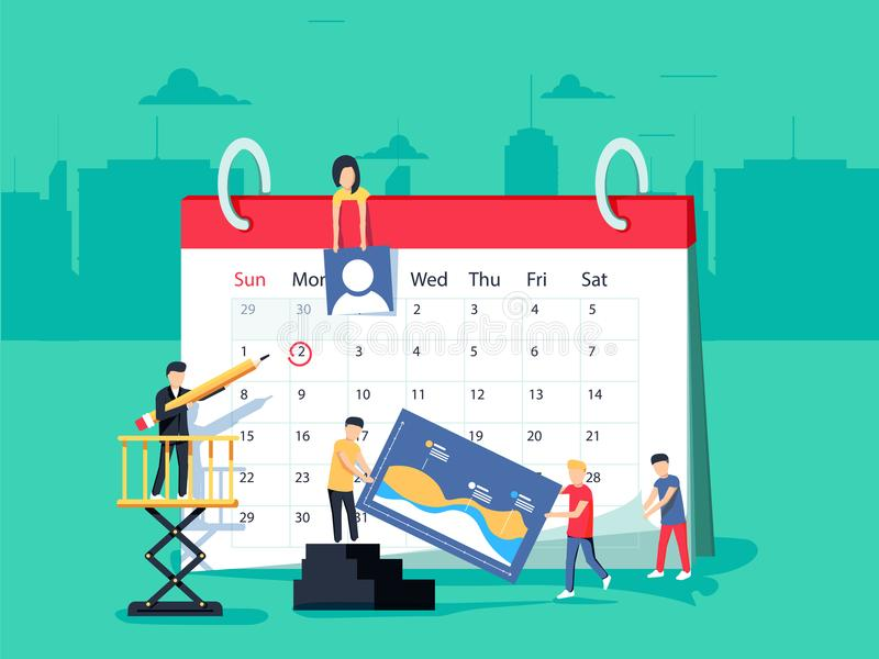 Events. Flat design business people concept for business planning, events and news, reminder and schedule. royalty free illustration