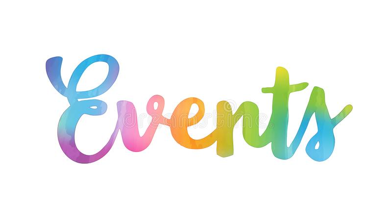 EVENTS hand lettering icon stock illustration