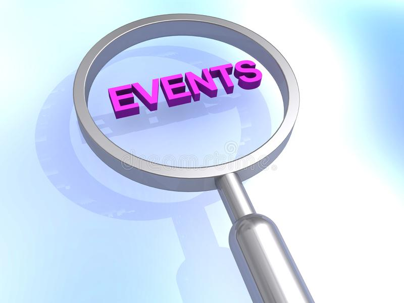 Events heading. Highlighted with magnifying glass royalty free illustration