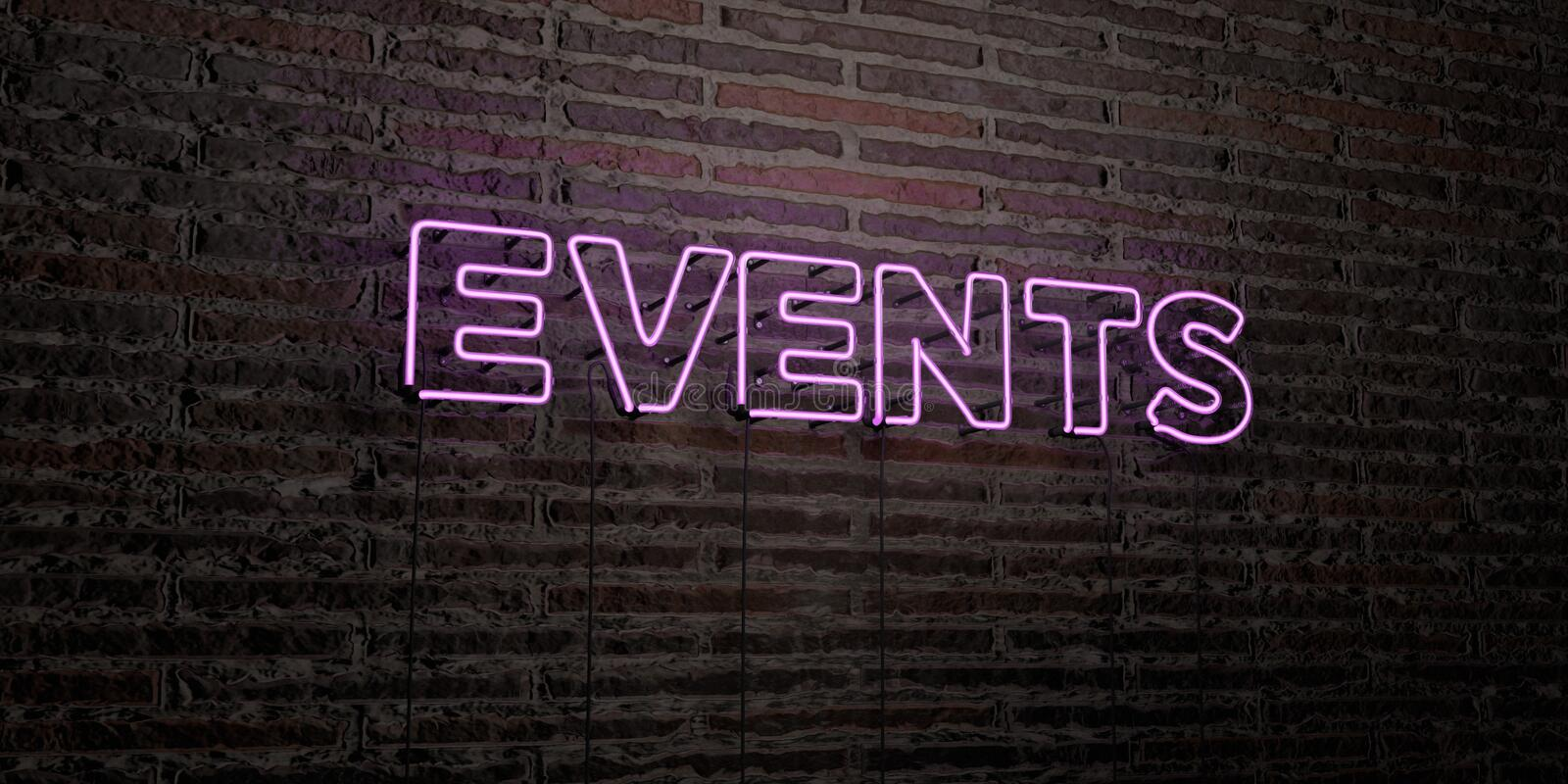 EVENTS -Realistic Neon Sign on Brick Wall background - 3D rendered royalty free stock image stock illustration