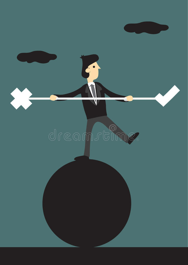 In evenwicht brengend Akte tussen Juist en Verkeerd Conceptueel Vectorbeeldverhaal royalty-vrije illustratie