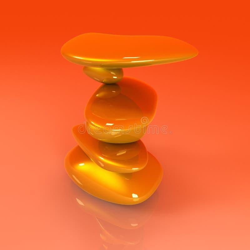 In evenwicht brengende Gouden Goudklompjes stock illustratie