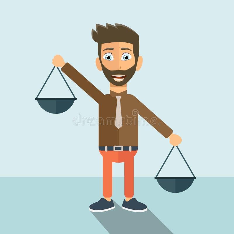 In evenwicht brengende prioriteiten Vlakke vectorillustratie stock illustratie