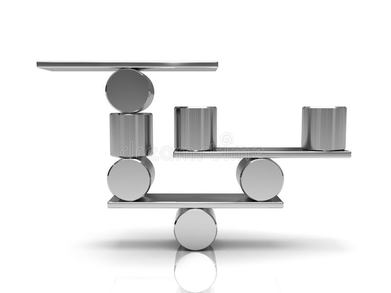 In evenwicht brengende staalcilinders vector illustratie