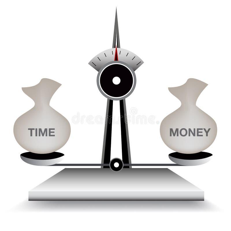 In evenwicht brengende Tijd en Geld stock illustratie