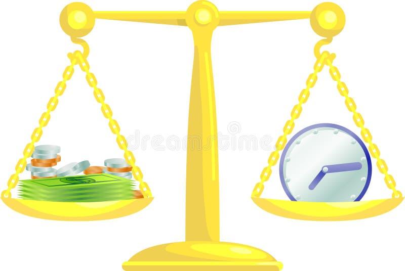 In evenwicht brengende tijd en geld royalty-vrije illustratie