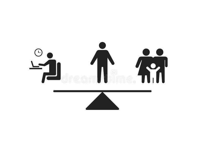 Evenwicht tussen werk en gezin Moeilijk besluit Pictogram voor levensstijl, geld of thuis Keuze tussen gezin en werk vector illustratie
