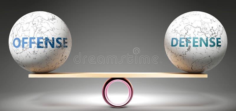 Evenwichtig delict en defensie - op schaal afgebeeld als evenwichtige ballen die de harmonie en rechtvaardigheid tussen delict en vector illustratie