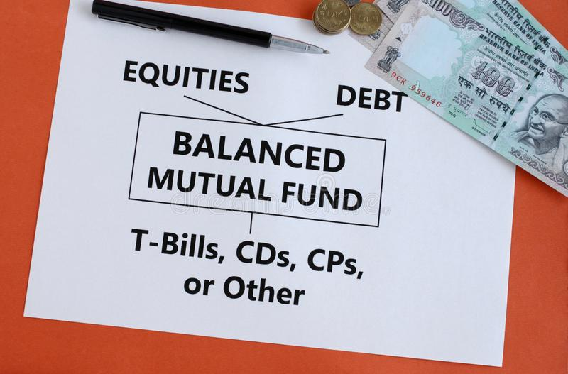 Evenwichtige Beleggingsmaatschappij Indische Investering in Roepiesconcept royalty-vrije stock foto's