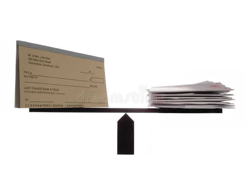 Evenwichtige Checkbook en Rekeningen stock foto