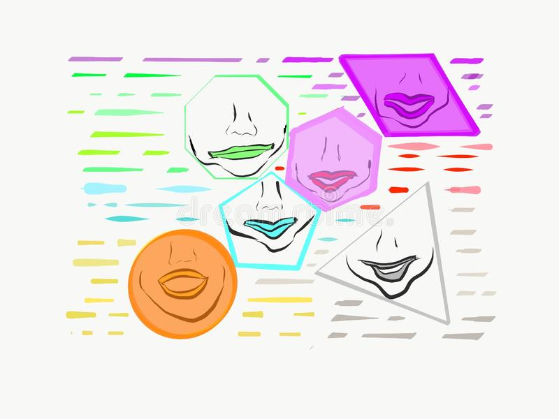 Lips Shapes Shaded Colors Orange Pink Smile Circle Triangle Trapezoid Pentagon Hexagon Art Photo Illustration Abstract Textures stock illustration