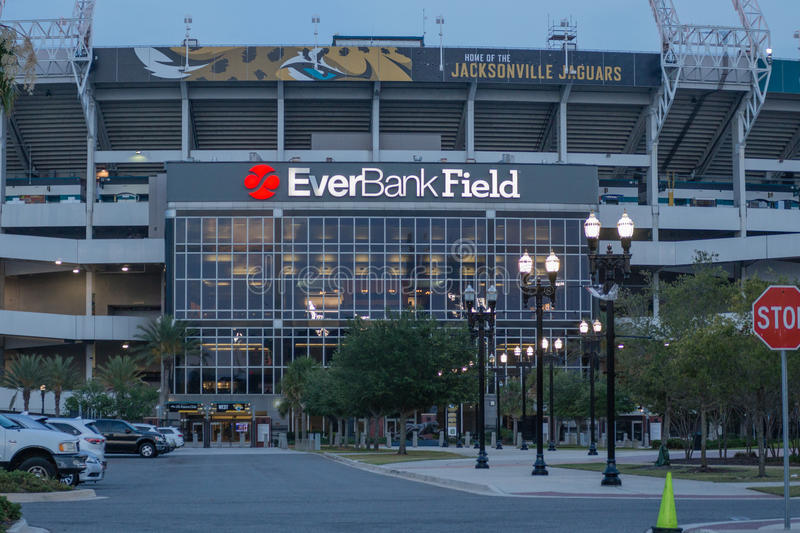 EverBank Field Stadium at Night stock photography