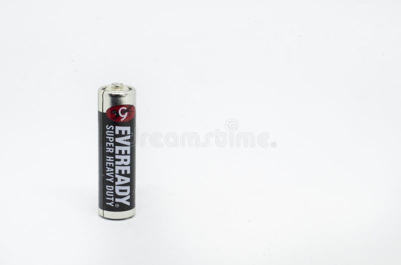 Eveready motorförbundetbatterier som isoleras på en vit bakgrund royaltyfria foton