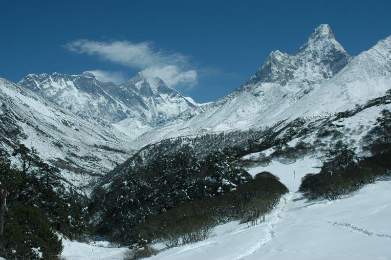 Everest and Ama Dablam mount stock image