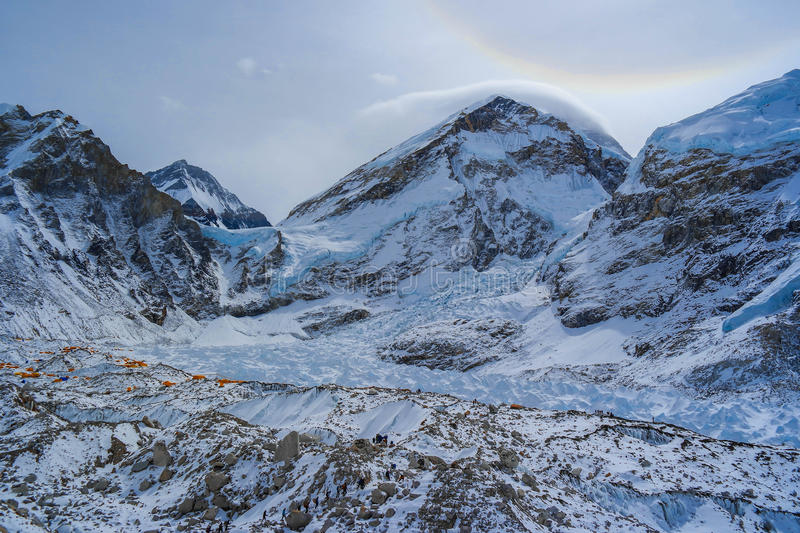 Everest base camp, with summit of everest in the back of skies. royalty free stock image