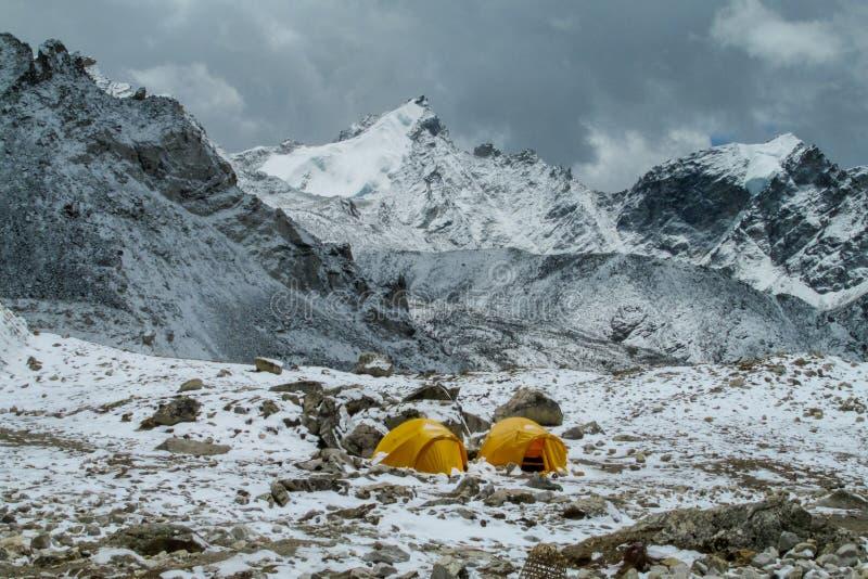 Everest Base Camp tents on Khumbu glacier EBC, Nepal side stock images