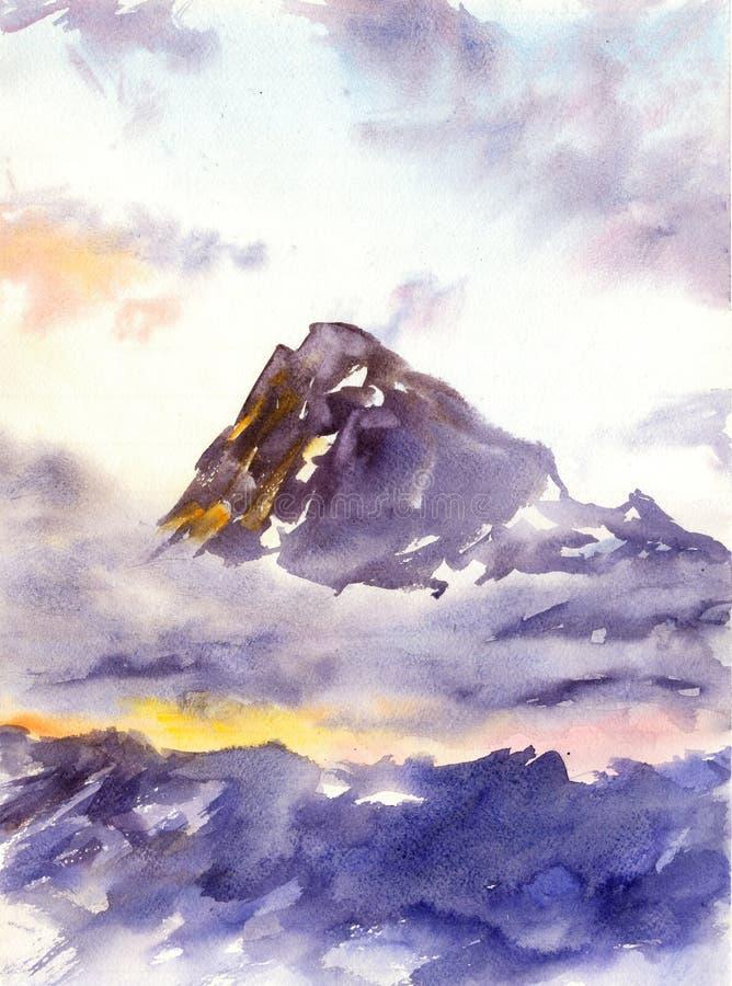 Everest berg - vattenfärgillustration royaltyfri illustrationer