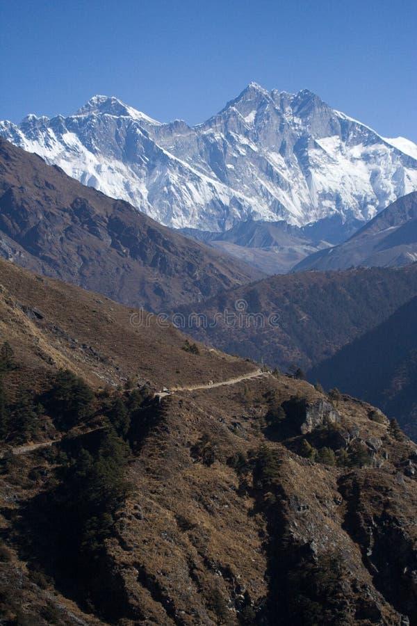 Everest en Rand Lhotse stock afbeeldingen