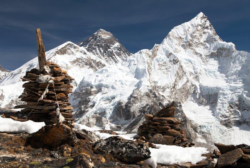 Everest et Nuptse de Kala Patthar photo stock