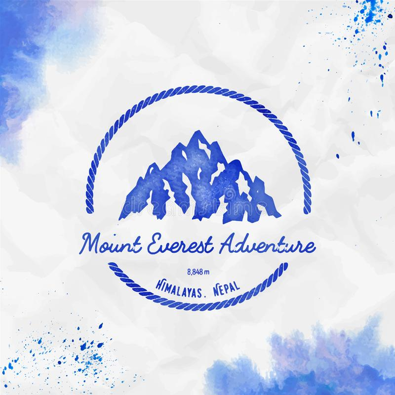 Everest logo. Round hiking blue vector insignia. Everest in Himalayas, China outdoor adventure illustration. Climbing, trekking, hiking, mountaineering and stock illustration