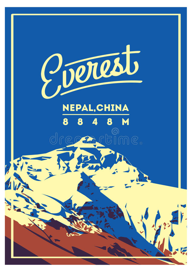 Everest manifesto all'aperto di avventura in Himalaya, Nepal, Cina Illustrazione della montagna di Chomolungma royalty illustrazione gratis
