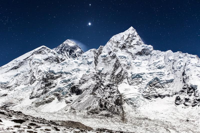 Everest mountain panoramic view on a starry night. stock image