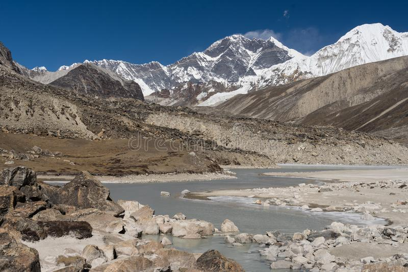 Download Everest Mountain Peak Behind Freezing Lake, Mera Region, Nepal Stock Photo - Image of climbing, region: 107899800
