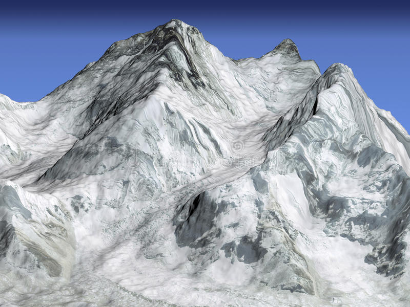 Everest mountain, satellite 3d view stock illustration