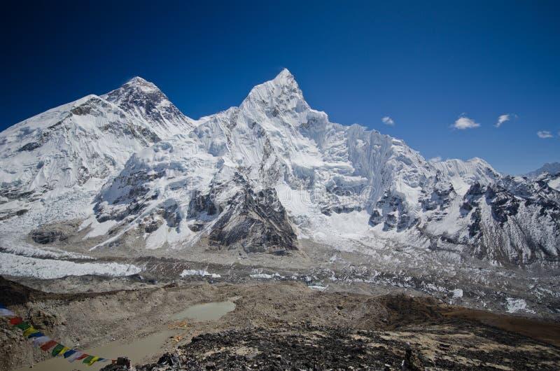 Everest, Nuptse y Lhotse vistos de Kala Pattar foto de archivo libre de regalías