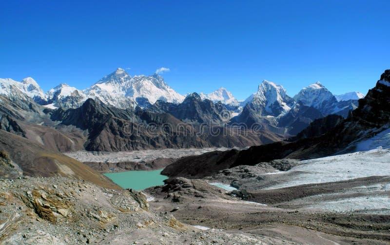 Everest pasmo i Gokyo dolina od Renjo losu angeles zdjęcie stock