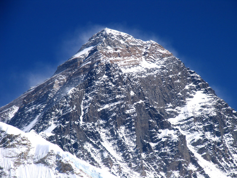 Everest peak. Mount Everest, the highest in the world, 8850m. The peak is always black because the wind blows away the snow royalty free stock photography