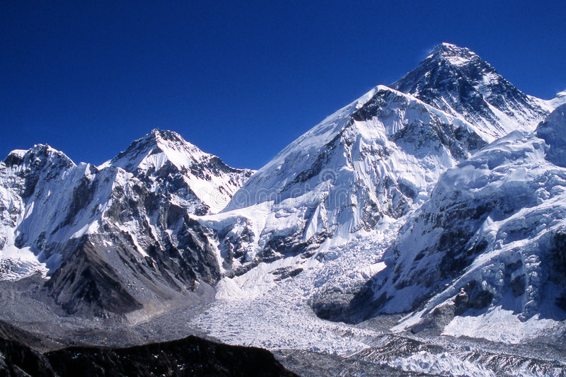Everest peak. Mount Everest, the highest in the world, 8850m. The peak is always black because the wind blows away the snow. To the center Mount Ice fall. The