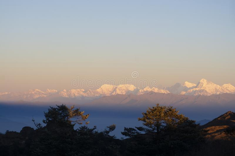 Everest Range in Himalayas, panorama photography taken in the morning stock photo