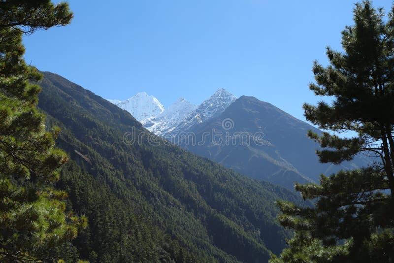 Everest summit from nepal in everest trek royalty free stock photo