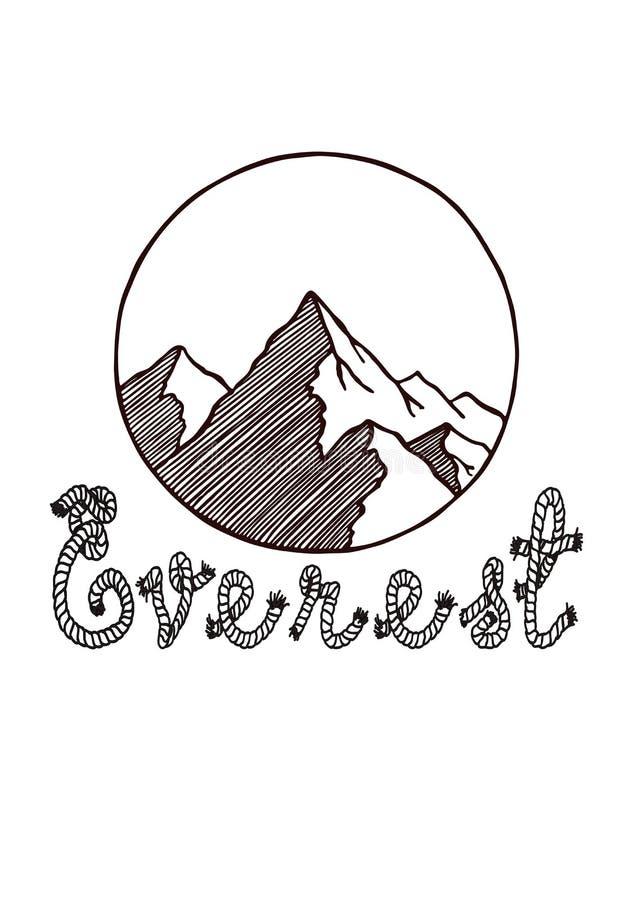 everest szczyt mt Wektorowy pociągany ręcznie Everest halny logo w okręgu z linowym literowaniem Druk dla koszulki z górami ilustracja wektor