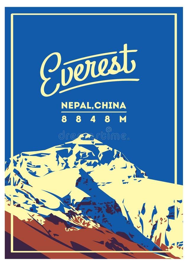 Everest w himalajach, Nepal, Porcelanowy plenerowy przygoda plakat Chomolungma góry ilustracja royalty ilustracja