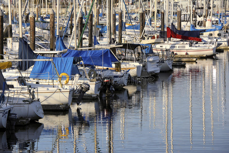 Everett marina. Everett, United States - December 17th, 2011: Everett Marina is located in Everett, Washington state, a quick getaway for traveling to the San stock image