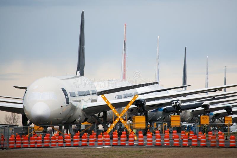 Boeing 787 armazenado em Everett, Washington imagem de stock royalty free