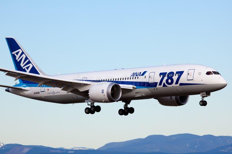 Boeing 787 - All Nippon Airways imagem de stock