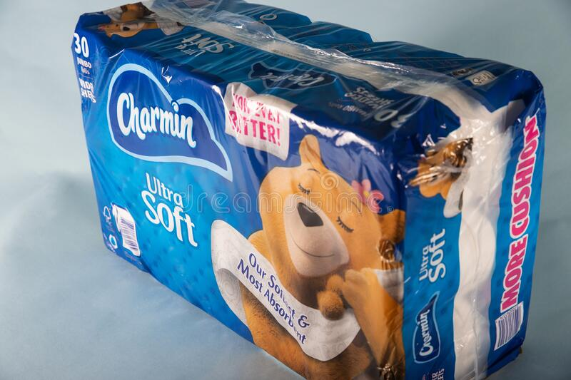 Everett, Washington - March 22, 2020: General view of Charmin Toilet Paper bulk package sold by Costco. Toilet paper supplies have royalty free stock image