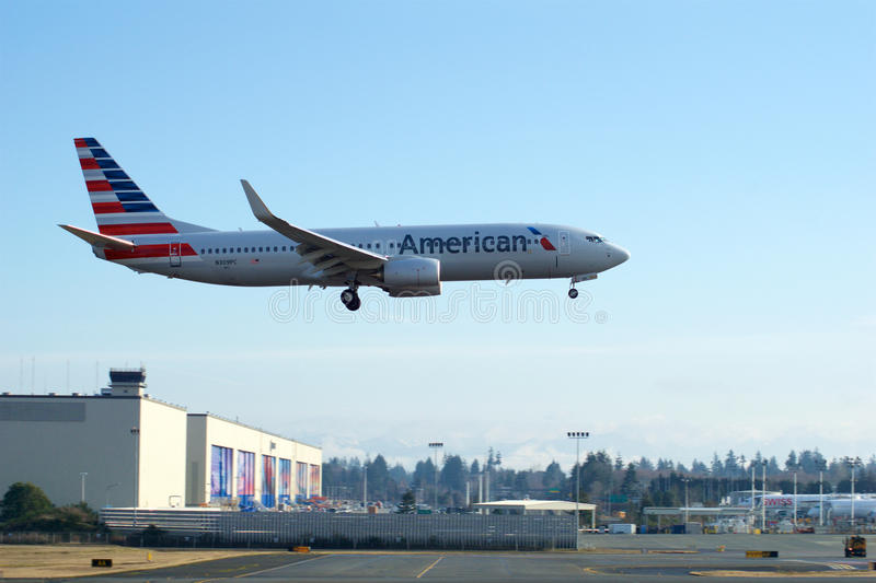 EVERETT, WASHINGTON, USA - JAN 26th, 2017: A brand new American Airlines Boeing 737-800 Next Gen MSN 31258, Registration stock photography