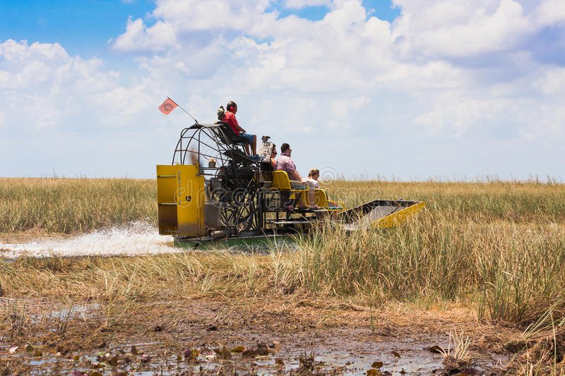 Everglades National Park. Florida. June 07, 2015. Group of tourists riding an airboat in royalty free stock images
