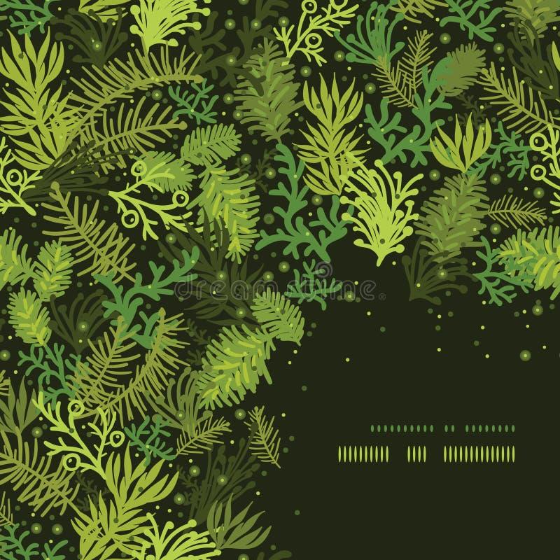 Evergreen christmas tree corner frame pattern vector illustration