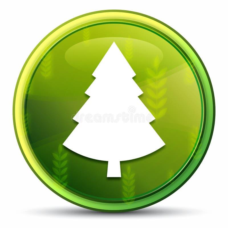 Evergreen conifer pine tree icon spring bright natural green round button illustration stock illustration