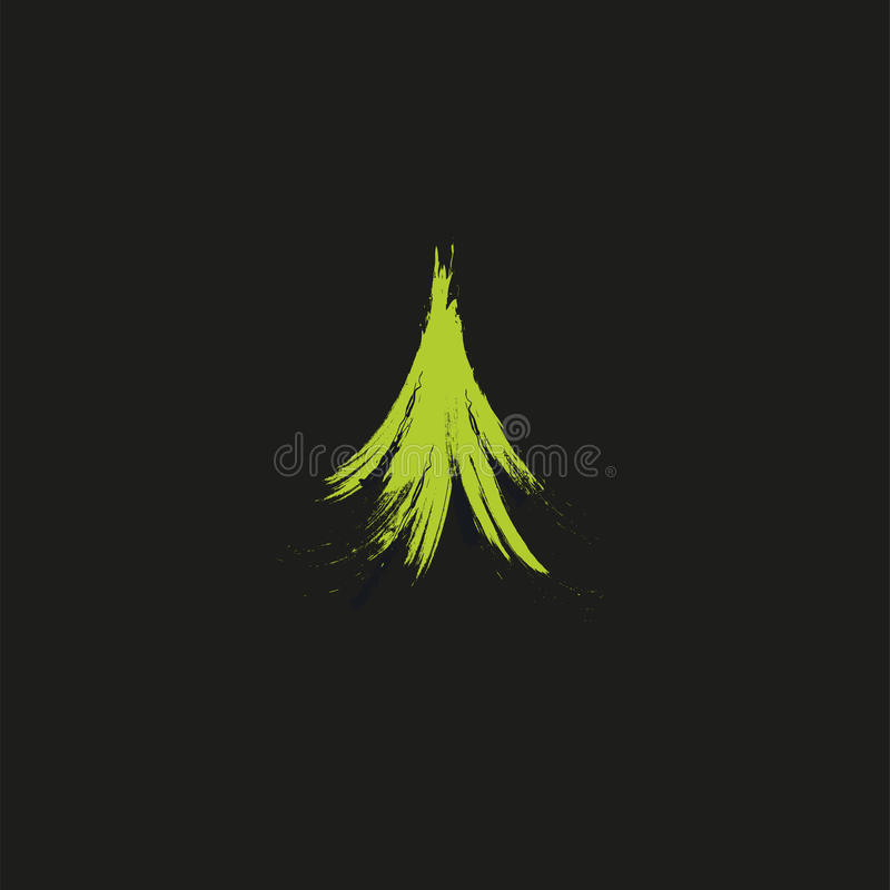 Evergreen coniferous green color needles tree, cedar, pine brunches. Abstract vector logo element. Natural leaves on royalty free illustration