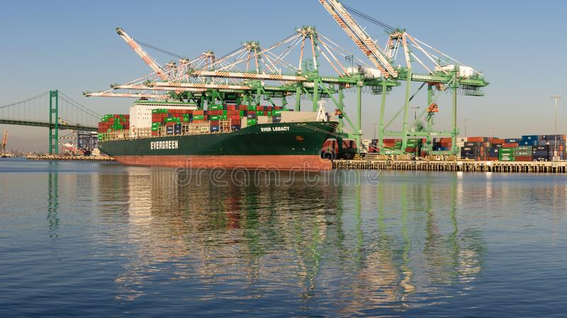 Evergreen Marine Corporation Container Port of LOs Angeles fotografia stock