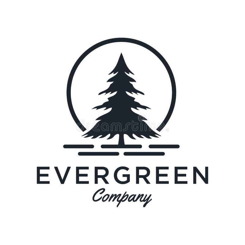 Evergreen/sörjer inspiration för trädlogodesignen - vektor royaltyfri illustrationer